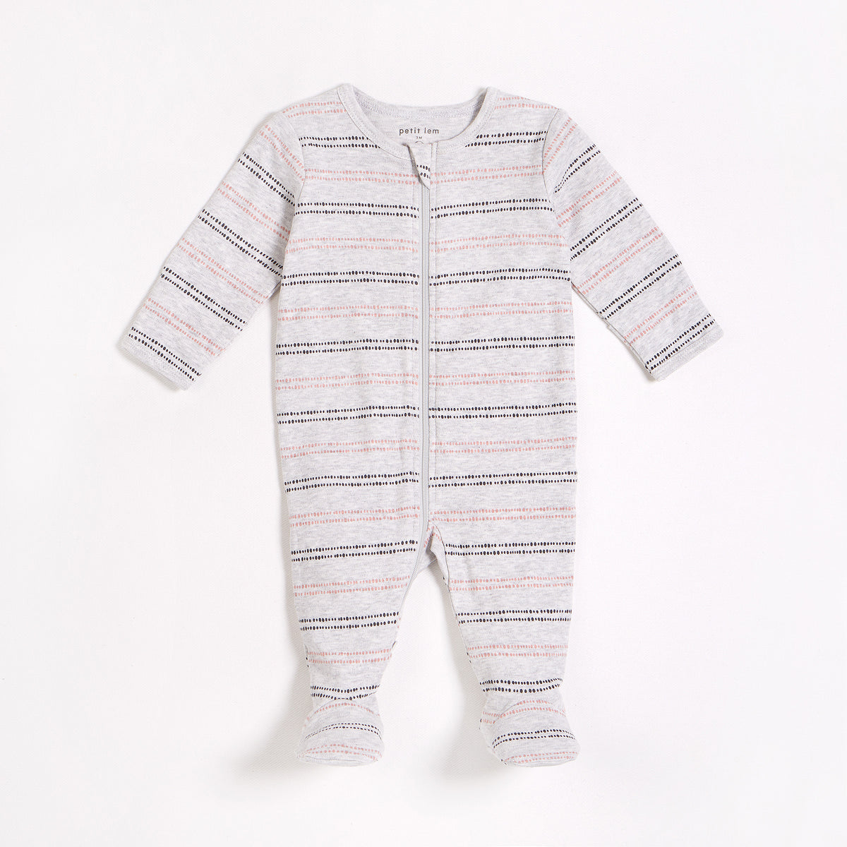 Heather Grey Pink Stripe Sleeper
