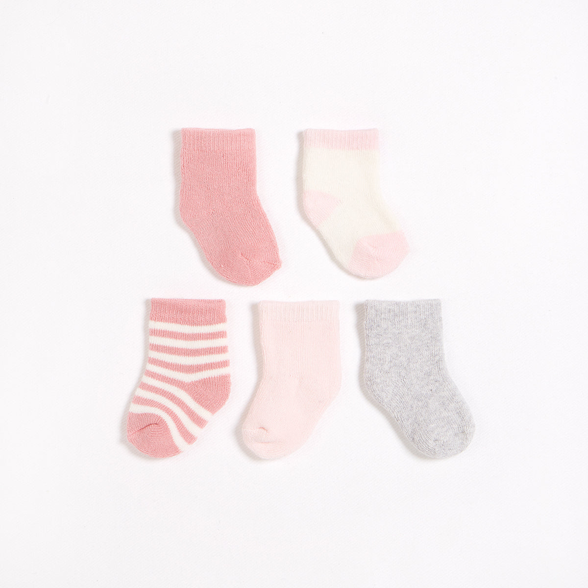 5 Pack of Grey, Pink & White Socks