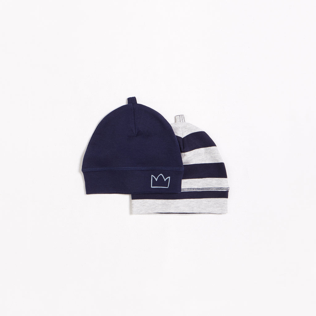 Navy Stripe Beanies – 2 Pack