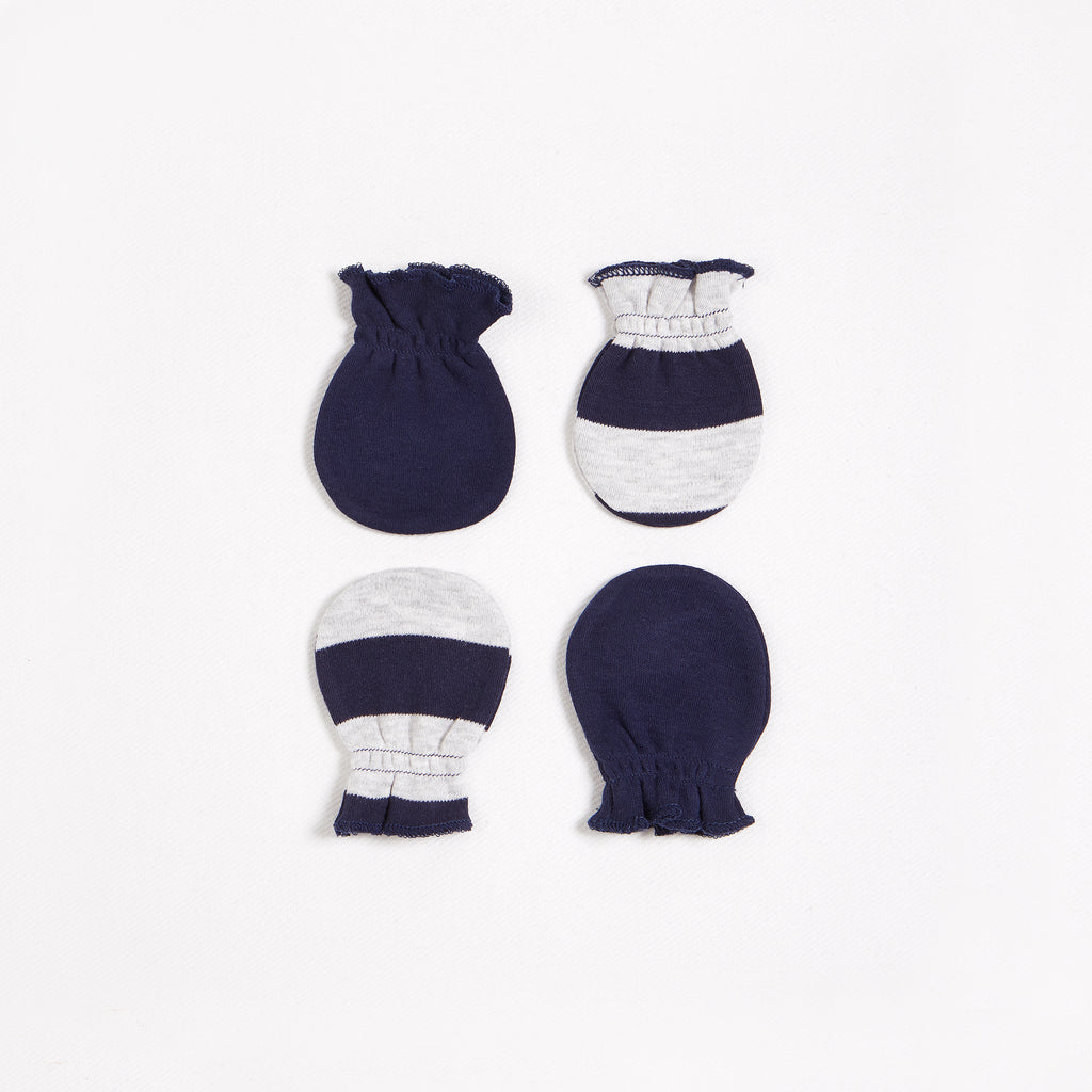 Navy Stripe Mittens – 2 Pack