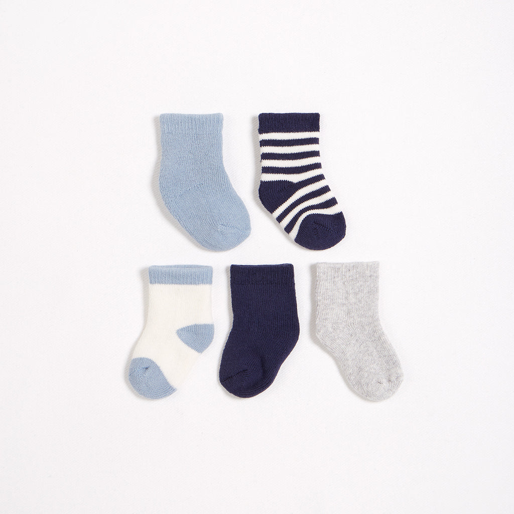 5 Pack of Grey, Blue & White Socks