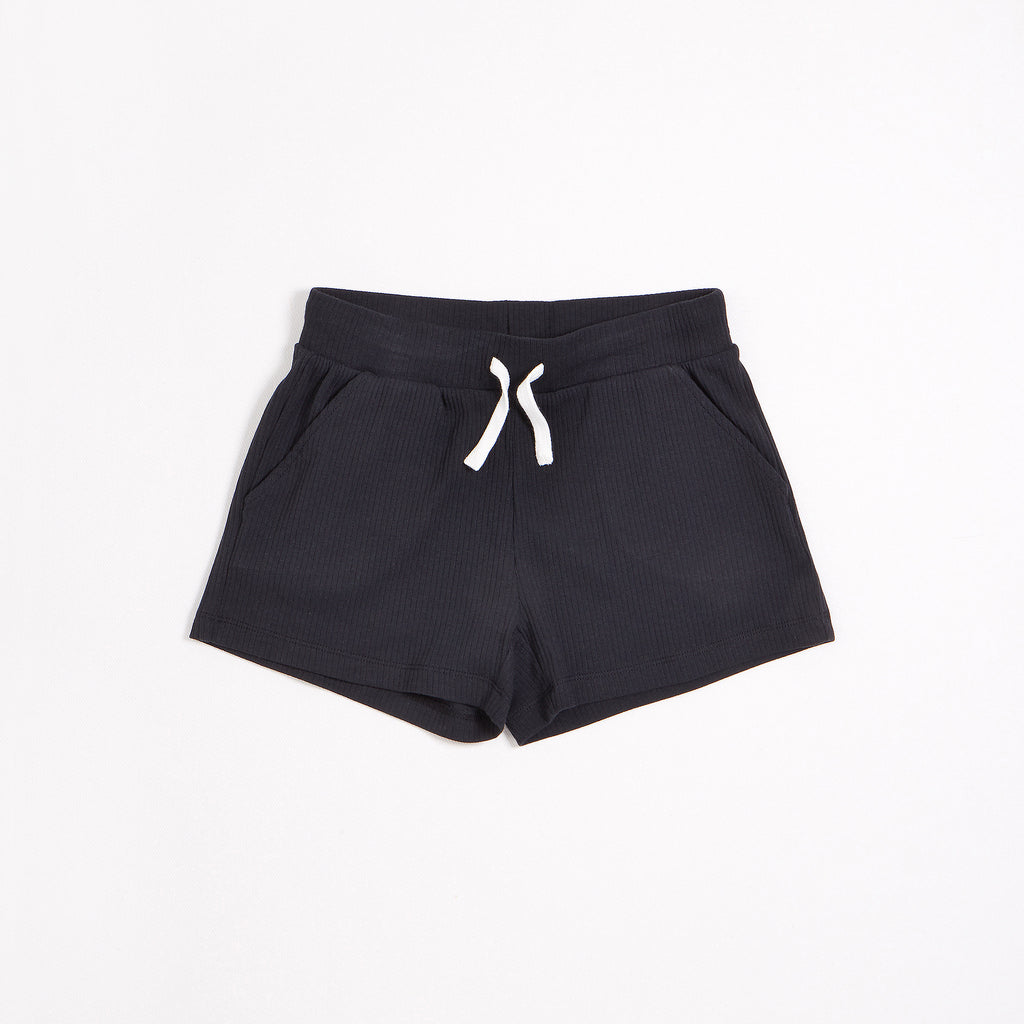 Caviar Black Modal Rib Junior Girls' Shorts