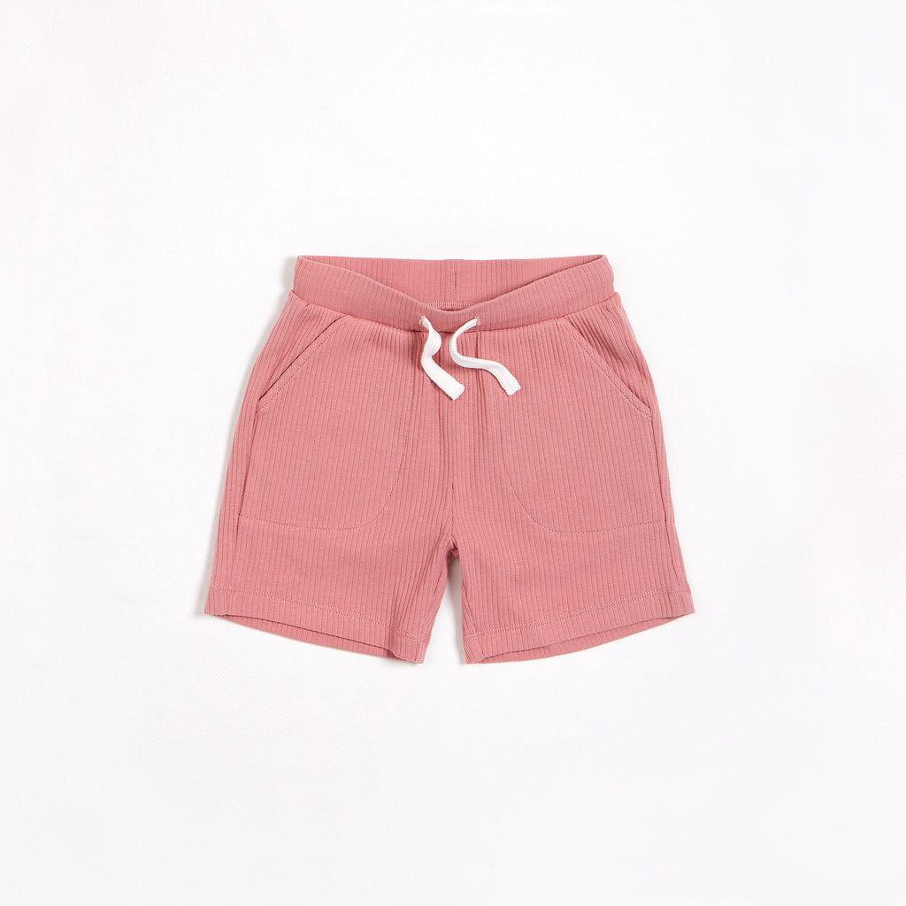Dusty Rose Modal Rib Shorts
