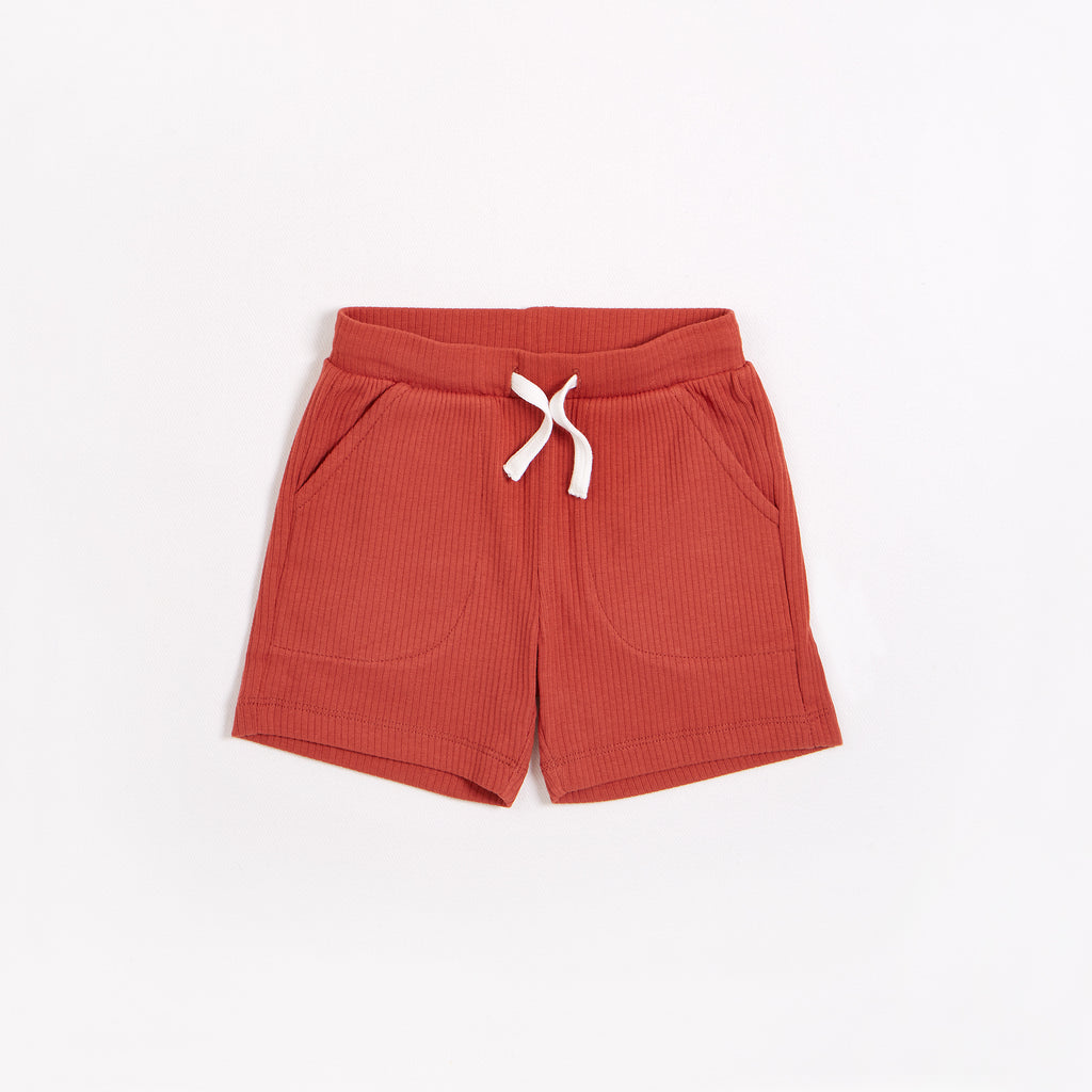 Rouge Brique Modal Rib Shorts