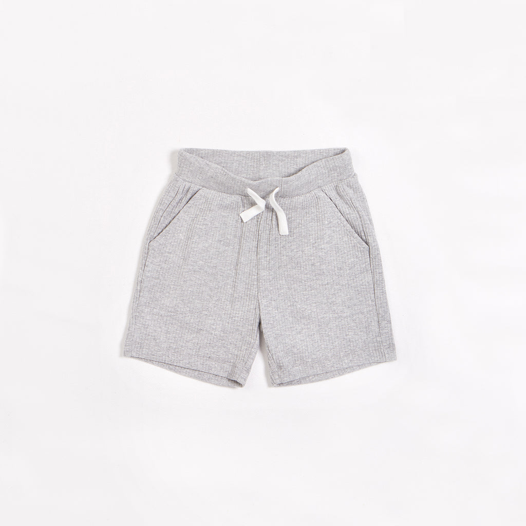 Heather Grey Modal Rib Shorts