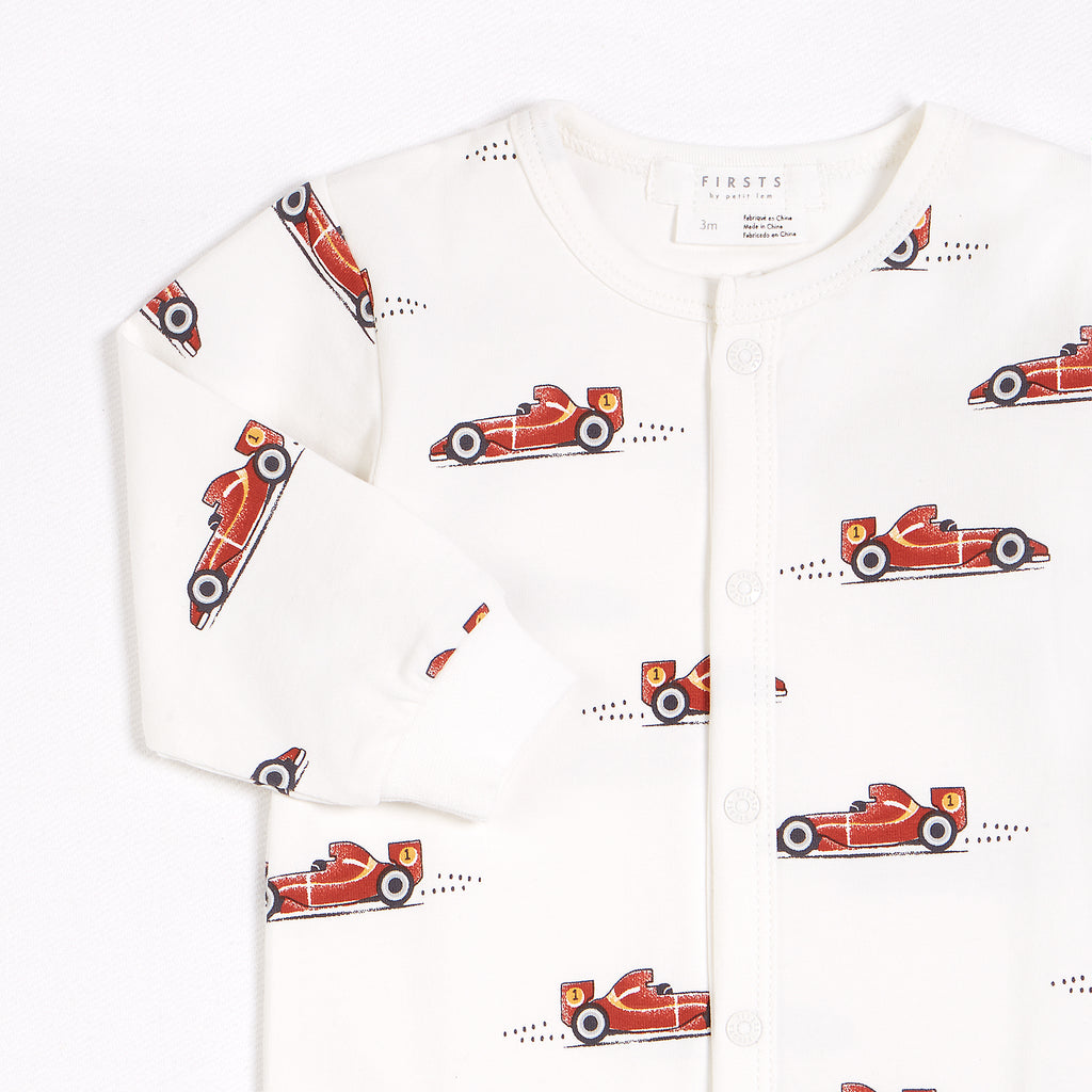 GP Racer Print on Off-White Footed Sleeper