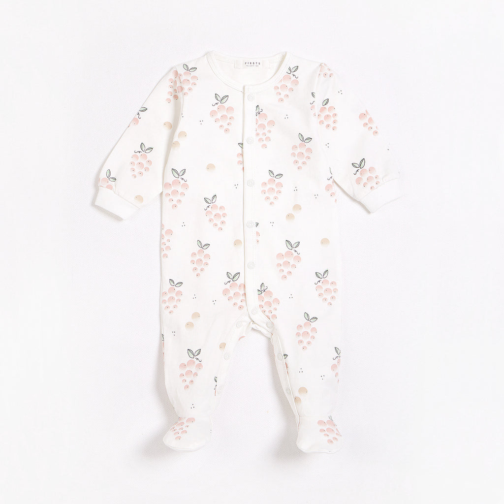 La Vie en Rosé Print on Off-White Footed Sleeper