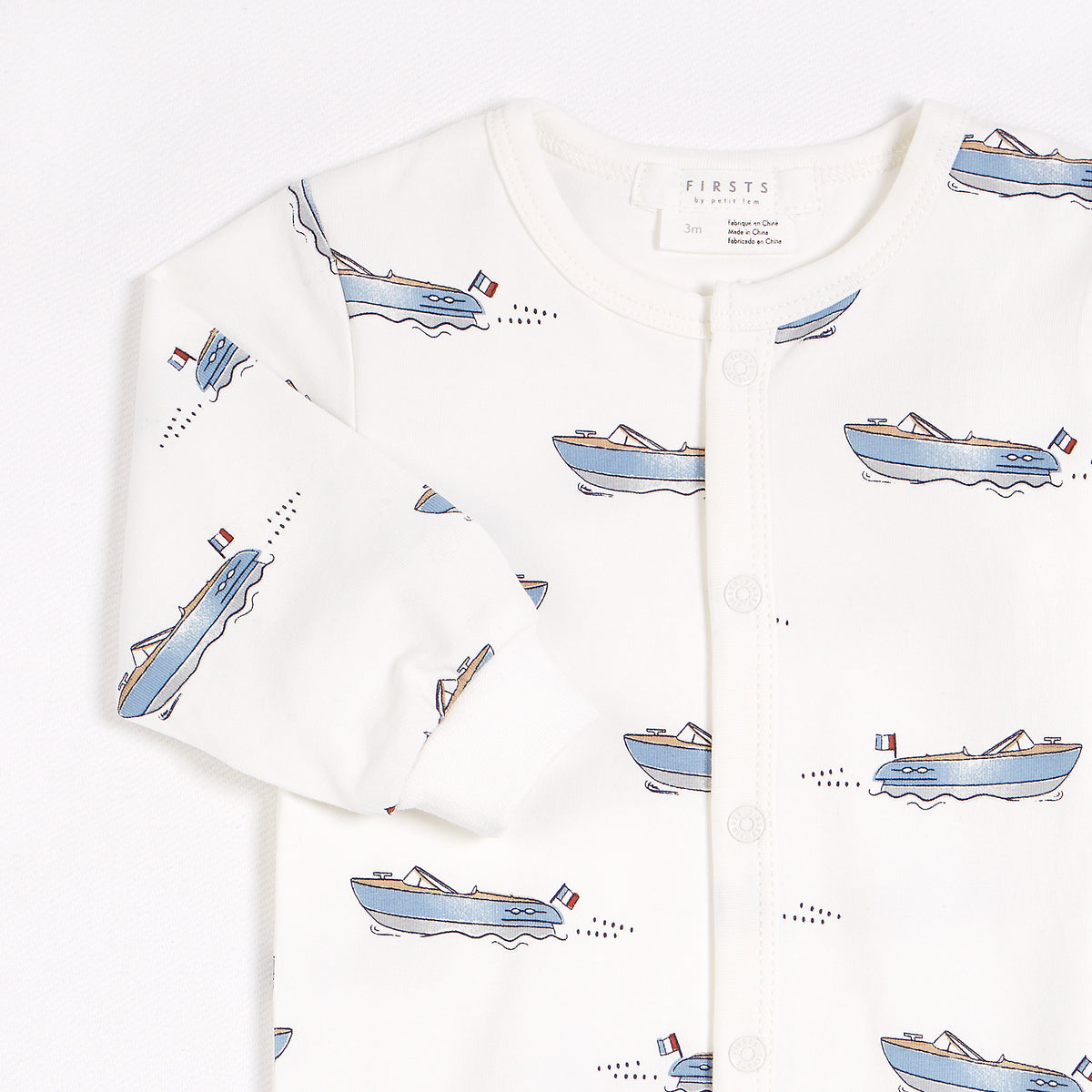 Club Nautique Print on Off-White Footed Sleeper