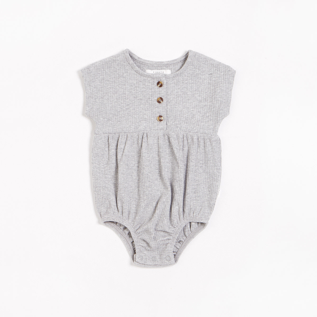 Heather Grey Modal Rib Bubble Romper