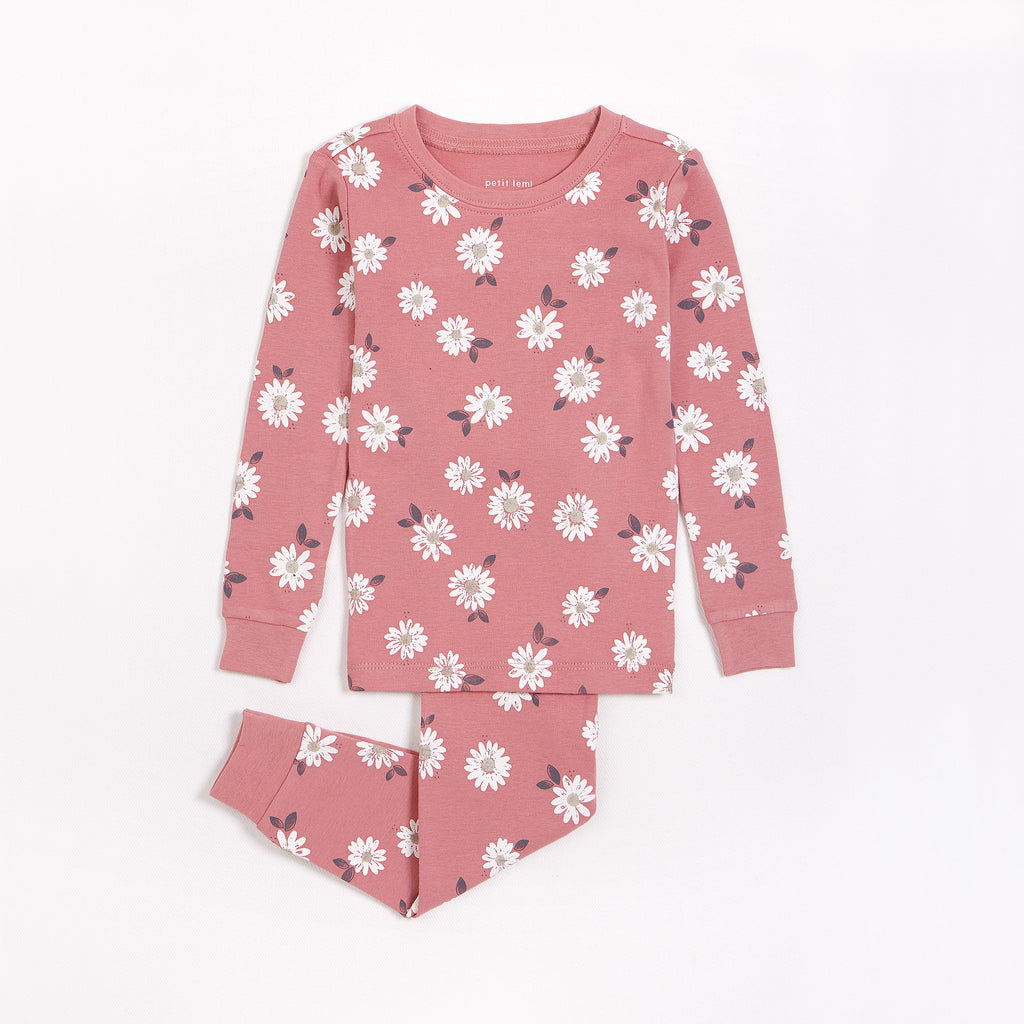 Marguerites Print on Dusty Rose Infant PJ Set (12M-6X)