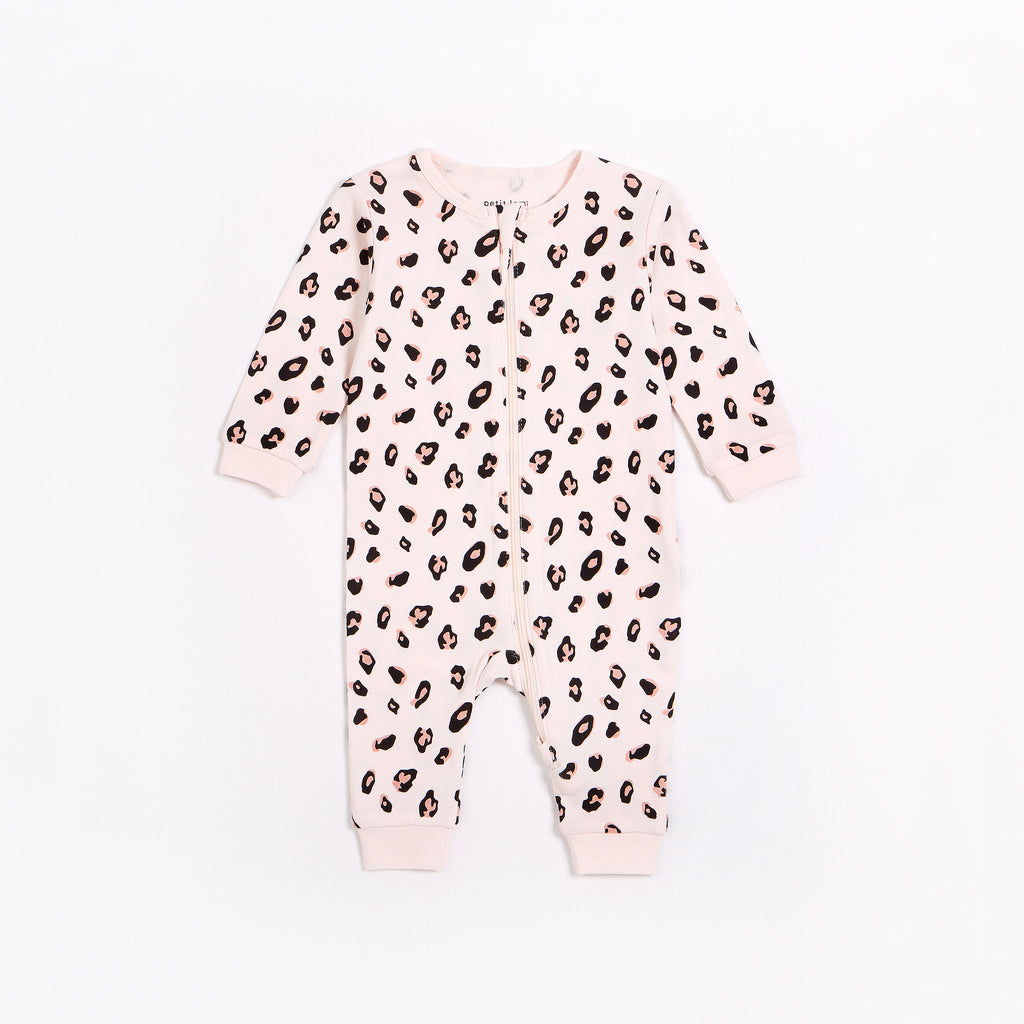 Leopard Print on Pale Pink Sleeper