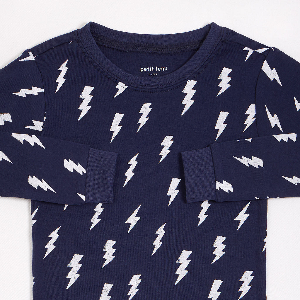 Bolt Print on Blue PJ Set