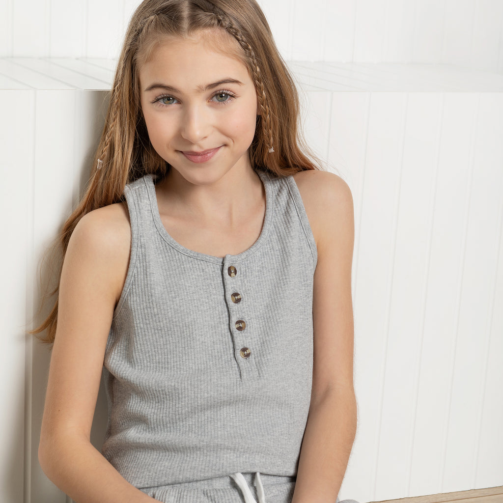 Heather Grey Modal Rib Junior Girls' Tank Top