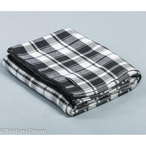 Willow Textured Plaid Charcoal-Ivory Cotton Throw