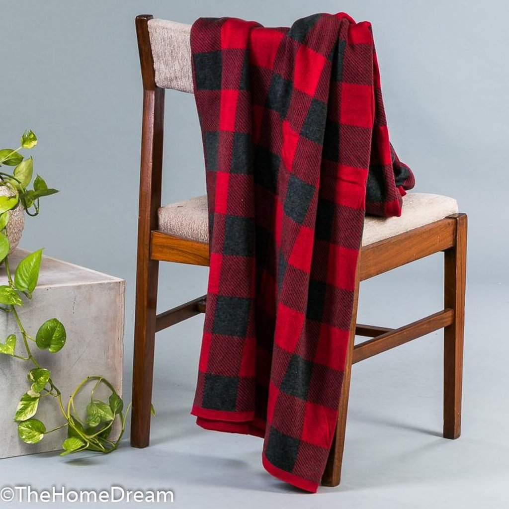 Hendrix Buffalo Plaid Red-Charcoal Cotton Throw
