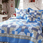 Blue Floral Abstract Star 100% Cotton Reversible Real Patchwork Quilted Coverlet Bedspread Set (DXJ103110)