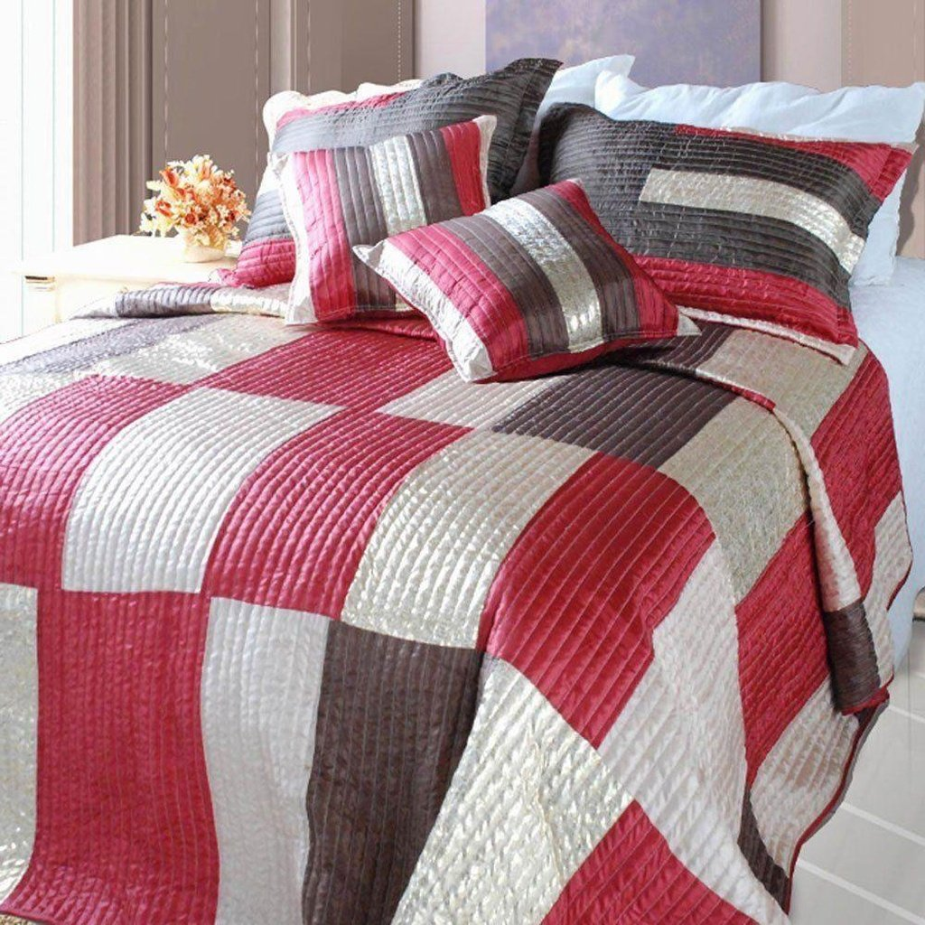 Modern Block Satiny Metallic Checkered Red Brown & Gold Coverlet Bedspread Set (DXJ106211)