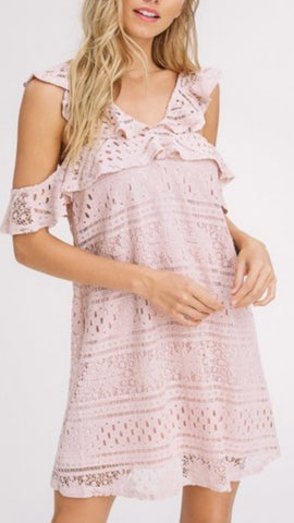 """I'm Blushing"" Crochet Lace Cold Shoulder Shift Dress - Medium Remaining - Final Sale"