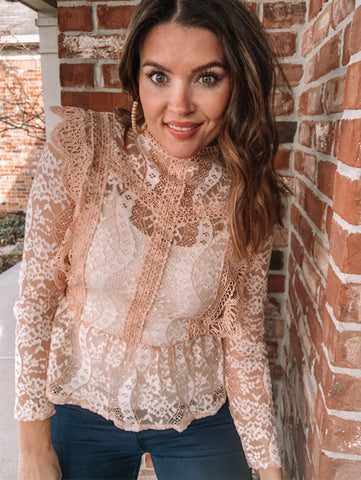 Blush High Neck Lace Blouse