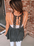 """Alexandra"" Charcoal Black Open Back Lace Top"