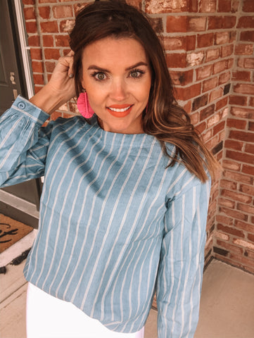 Chambray Blue Stripe Top