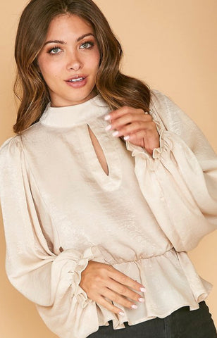 Taupe Satin Blouse