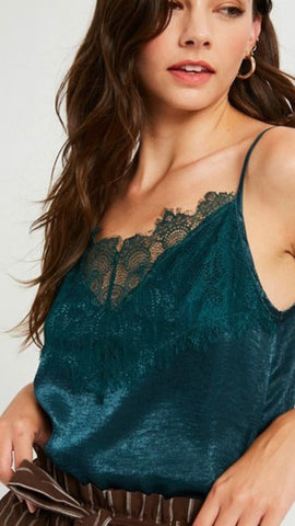 """High Society"" Emerald Eyelash Lace Camisole Top"