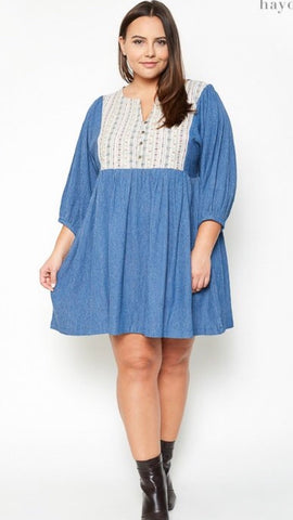 Tribal Print Denim Tunic/Dress - Curvy - Final Sale