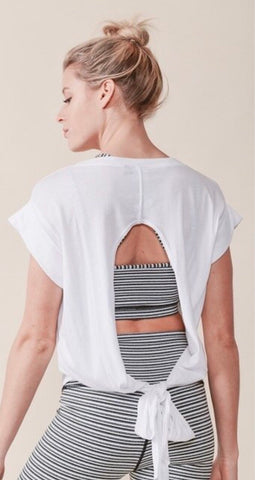 White Ellipse Athleisure Muscle Top - Final Sale
