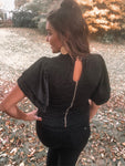 """Center Stage"" Black Sparkle Tiered Sleeve Blouse"