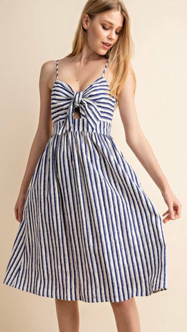 """Peek-a-Bow"" Ivory and Navy Stripe Midi Dress - Final Sale"