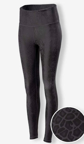 RESTOCKED AGAIN! Black Python Pattern Faux Leather Athletic Pants