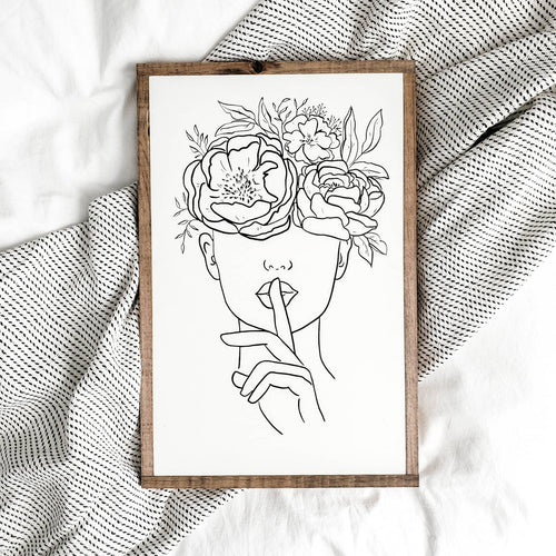 Floral Woman » Wood Sign «