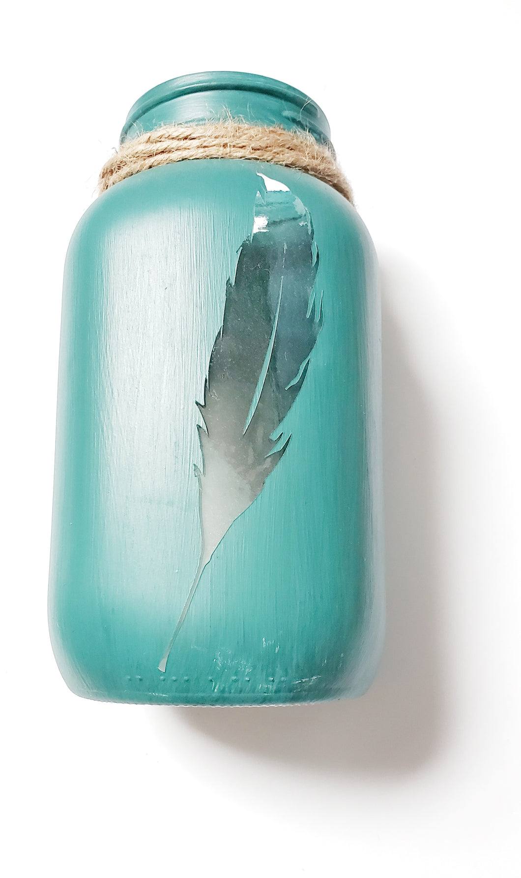 Turquoise Feather Lantern
