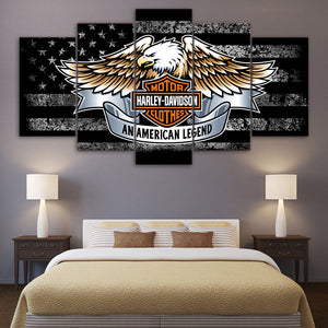 5 Piece Harley Davidson Canvas Wall Art