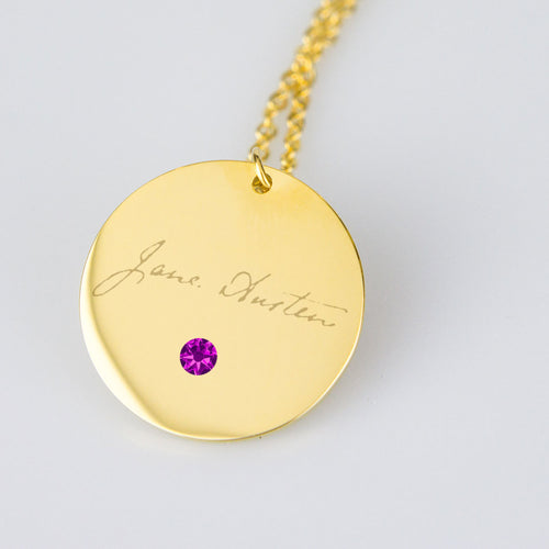 Gold Jane Austen Signature Necklace w/Birthstone