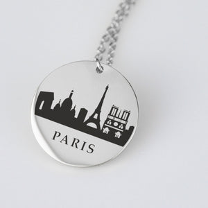 Paris Skyline Pendant - Stainless Steel