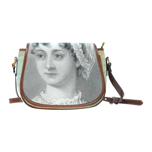 Jane Austen w/Blue Vintage Script Saddle Bag