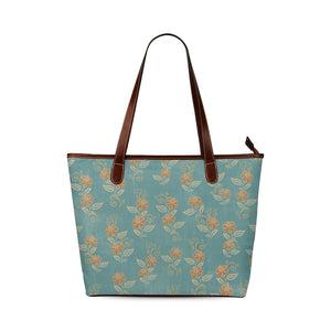 Regency Era-Inspired Blue Floral Print Shoulder Tote Bag