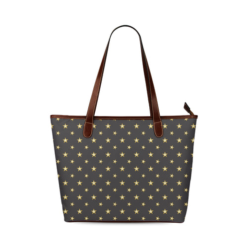 Gold Star Pattern Shoulder Tote Bag