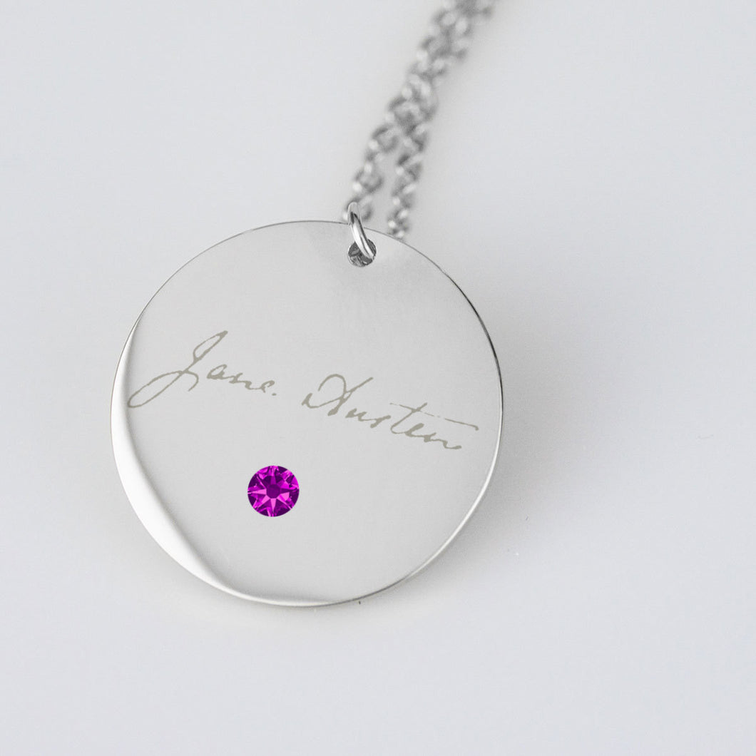 Silver Jane Austen Signature Necklace w/Birthstone