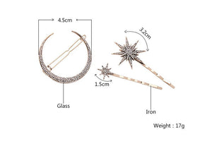 Star & Moon 3 Piece Hair Jewelry