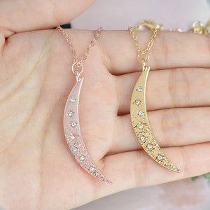 Victorian-Inspired Crescent Moon & Starburst Pendant - Rose Gold
