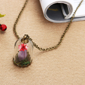 Domed Terrarium Red Flower & Amethyst Necklace