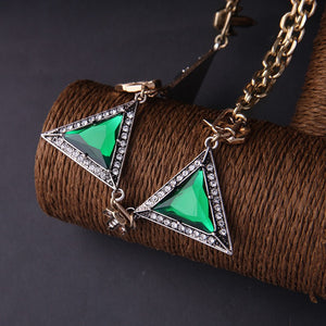 Art Deco-Style Green Triangle Statement Necklace