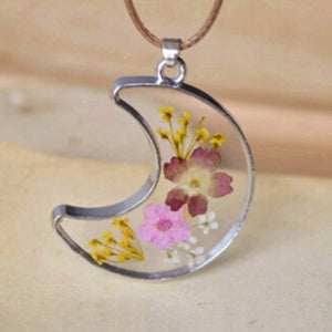Crescent Moon Pressed Flower Pendant
