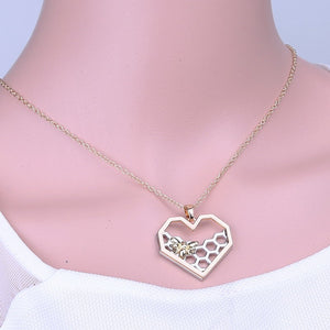 Heart-Shaped Honeycomb Bee Necklace