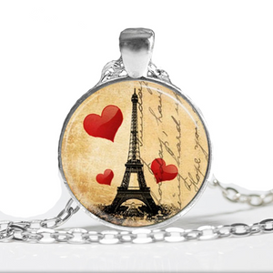 Vintage Eiffel Tower Postcard Glass Tile Pendant
