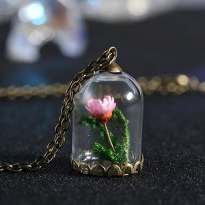 Domed Terrarium Pink Flower & Seaweed Necklace