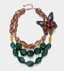 Vintage-Style Butterfly Statement Necklace